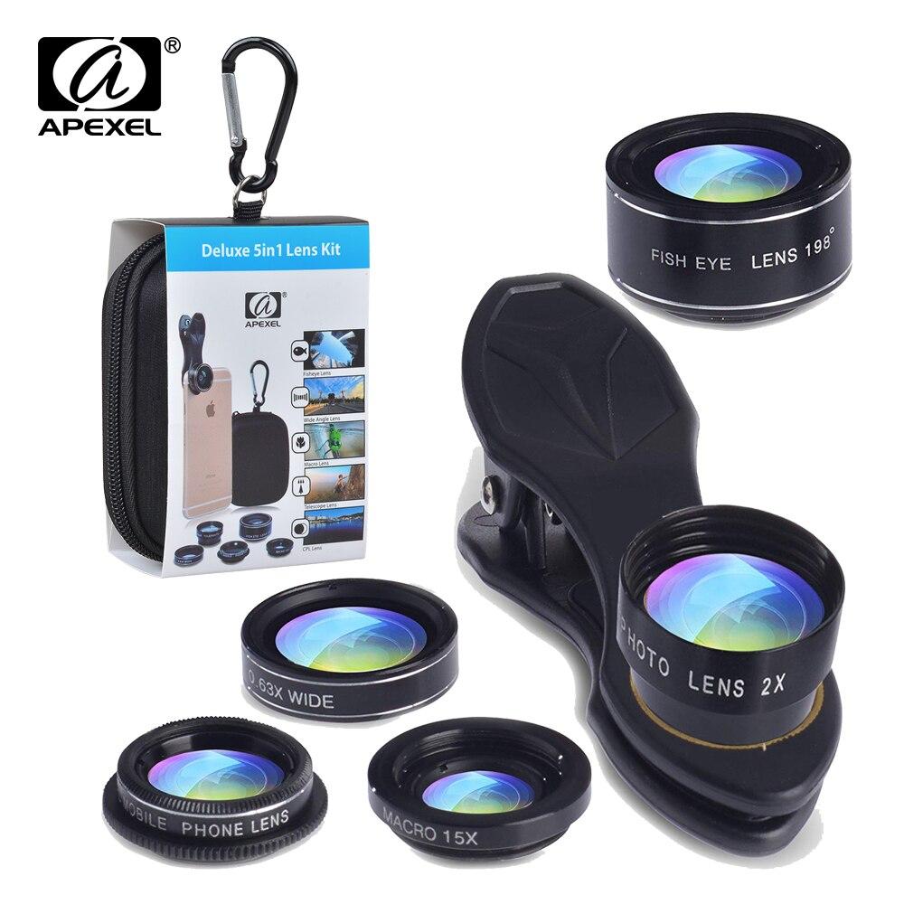 APEXEL 5in1 Kit Lente Da câmera para o iphone xiaomi HTC HUAWEI Samsung Galaxy S7/j5 Borda S6/S6 Borda e o Outro SmartPhone Android