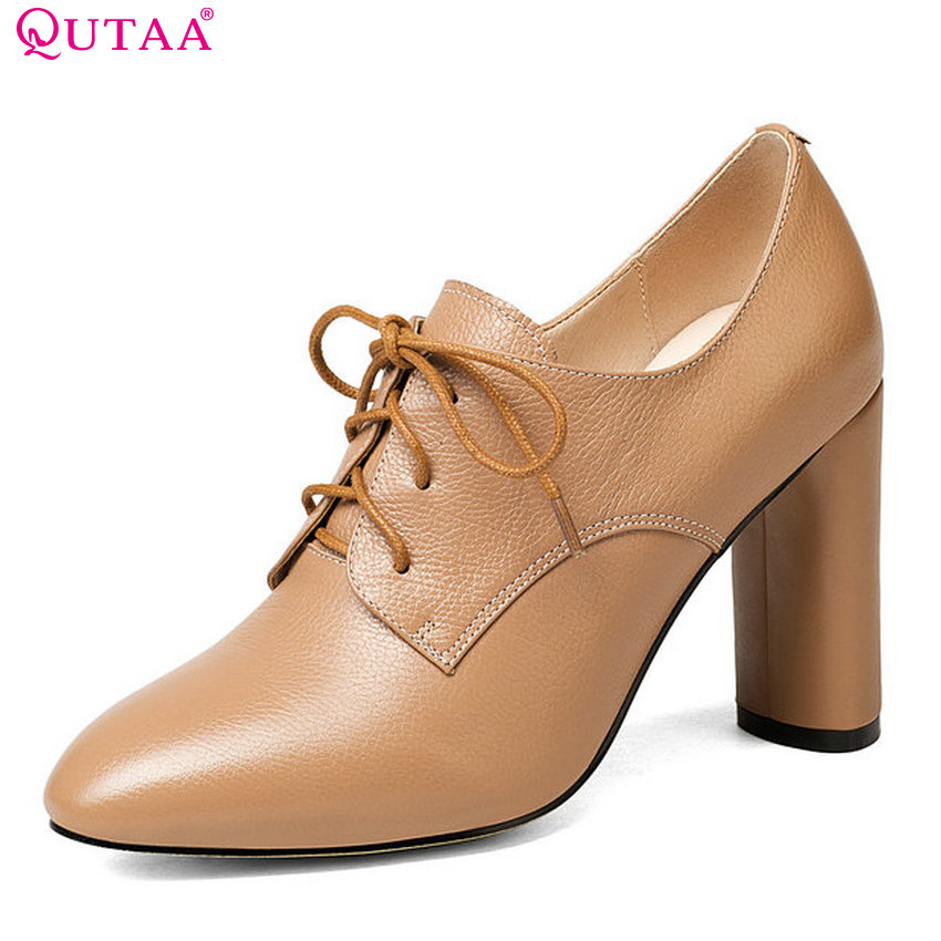 QUTAA 2018 Women Pumps Fashion Square High Heel Round Toe Casual Cow Leather +pu Solid Lace Up Platform Women Pumps Szie 33-43 bonjomarisa new arrivals 2016 solid plain round toe lace up sporting thick platform pumps women fashion cassual shoes women