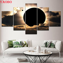 5d DIY diamond painting full square round Total solar eclipse scene 5 Pieces Diamond embroidery mosaic pictures of rhinestones(China)