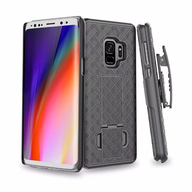 competitive price ce97d d6435 US $10.75 |For Samsung Galaxy S9 Plus S9 Phone Rugged Hybrid Hard Case  Cover Belt Clip Holster Luxury Mats Vein Stand Holder Case-in Holsters &  Clips ...