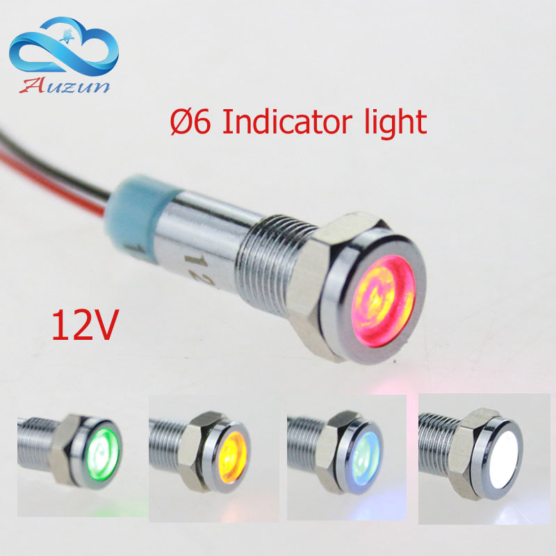 10  PCS metal Indicator light 6 mm metal light warning vehicle lamp 12V red green yellow blue white wire to grow by 15 cm