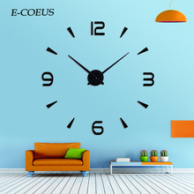 Large Digitial New Size Wall Clocks Black Color Home Decor Modern Decoration Horloge 3d  Acrylic Mirror Stickers