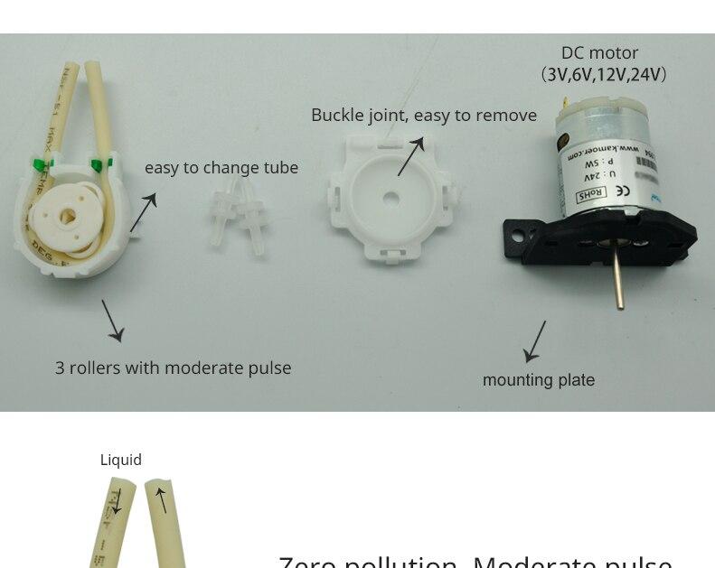 v 24 v pequena bomba peristáltica com