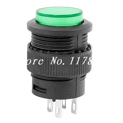 Green Round Cap DPDT 4 Pins Momentary Push Button Switch AC 250V 1.5A 125V 3A 5Pcs