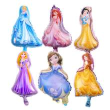 1pcs cartoon mini princess party ballon belle foil balloons princess happy birthday balloons Rapunzel balloon(China)