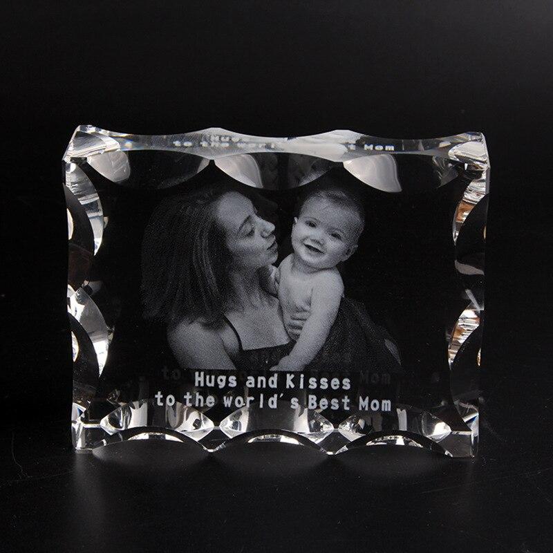 Cuadrado de cristal foto marco personalizado de vidrio 3D láser grabado foto marco boda DIY álbum de fotos de familia para regalos