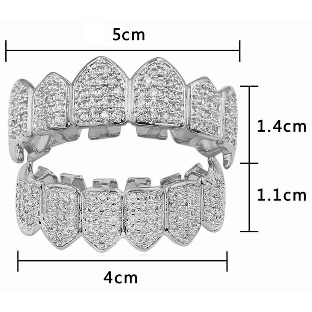 シルバーメッキトップ & ボトム Grillz 口歯グリル高品質、シルバー