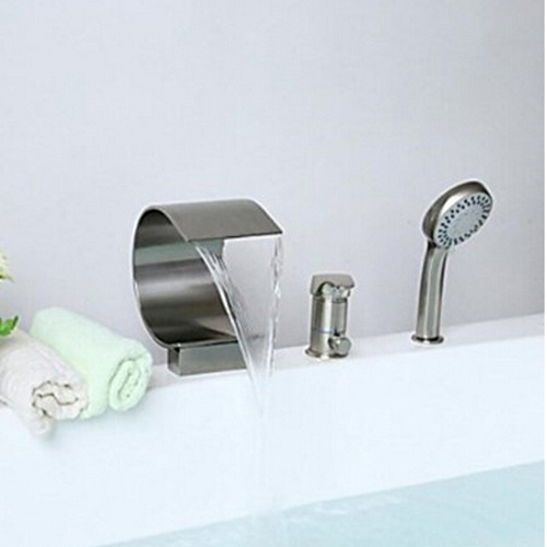 Waterfall Spout Bathtub 3pcs Faucet One Handle Mixer Tap with Handheld Shower Head Brushed Nickel cover pl44027 01
