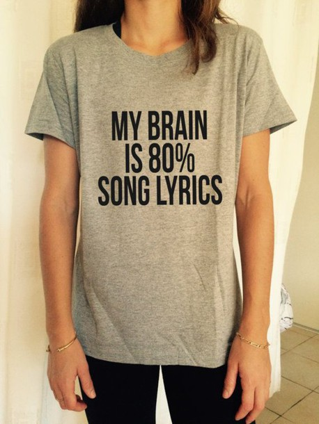 plus size Women Tshirt my brain is 80% song lyrics letter Print Cotton Funny Casual Hipster Shirt For Lady White Top Tees