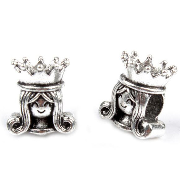 Simple Style Silver Color Queen Charms Beads Fit Pandora Bracelets & Bangles for Women Girl Birthday Gifts DIY Bijuterias