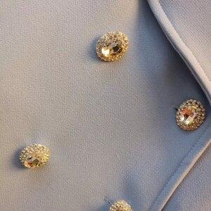 Image 5 - High street mais novo 2020 elegante designer blazer feminino xale colarinho strass botões duplo breasted longo blazer jaqueta