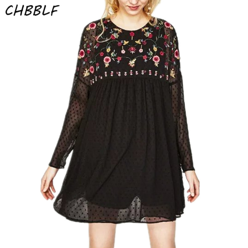 Весной новый европейский цветочный Вышивка черный Комбинезоны для женщин для Для женщин модные Свободные Комбинезоны bgb7015