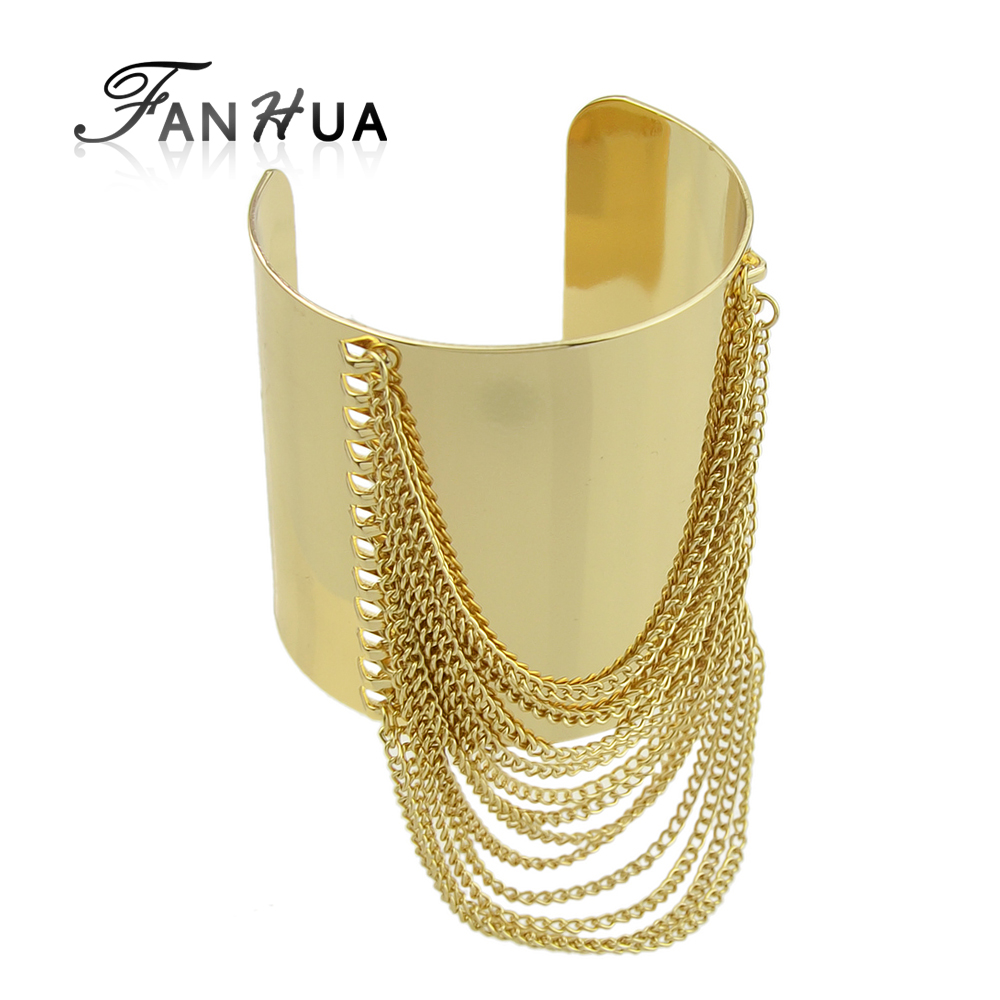 Fanhua Goldcolor Big Cuff Bracelet Punk Summer Style Pulseira Ouro Wide  Gold Chain Tassel