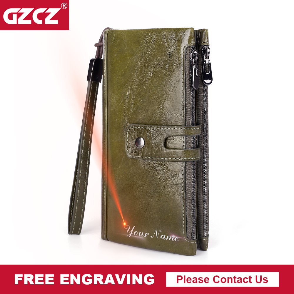 GZCZ 2018 WomenS Genuine Leather Wallets Clutch Coin Purse Lady Wallet Clamp For Money Vallet Portomonee Long Zipper Poucht Bag