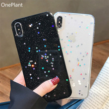 OnePlant Cute Glitter Bling Case for iPhone 6 7 8 Plus Glossy Epoxy Star Love Heart Clear Soft For X XS Max XR Cover