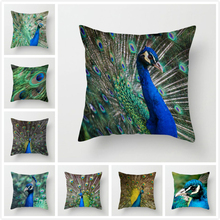 Fuwatacchi Green Peacock Throw Pillow Cover Animal Cushion for Home Sofa Office Decorative Case 2019