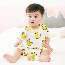 Купить с кэшбэком New Product Unisex Newborn Baby Cotton Short Sleeves Clothing Girls Boys Baby Cartoon Pajamas Rompers Kids Infant Baby Clothes