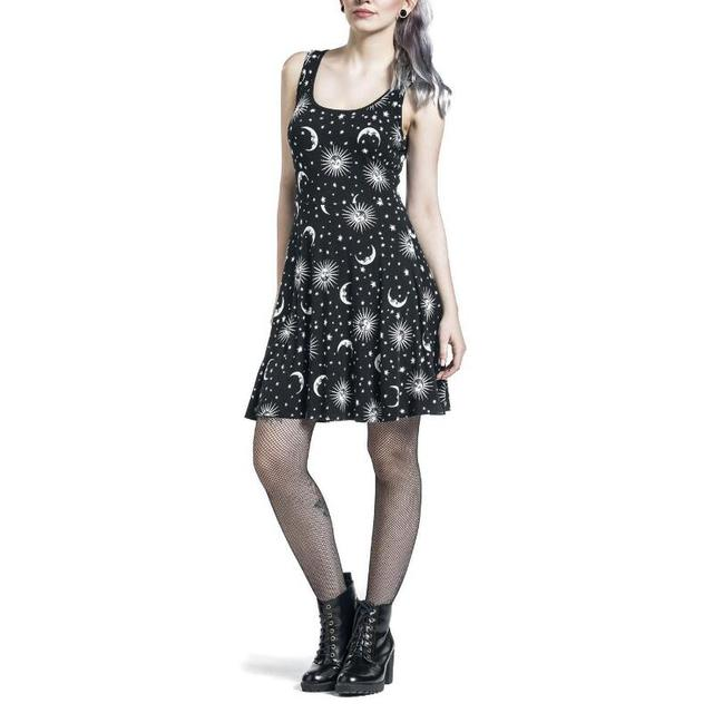 fb9b164b02b 2018 Summer Backless Women Dress Punk Rock Fashion Sun Moon Star Printing  Sleeveless Black Gothic Dresses