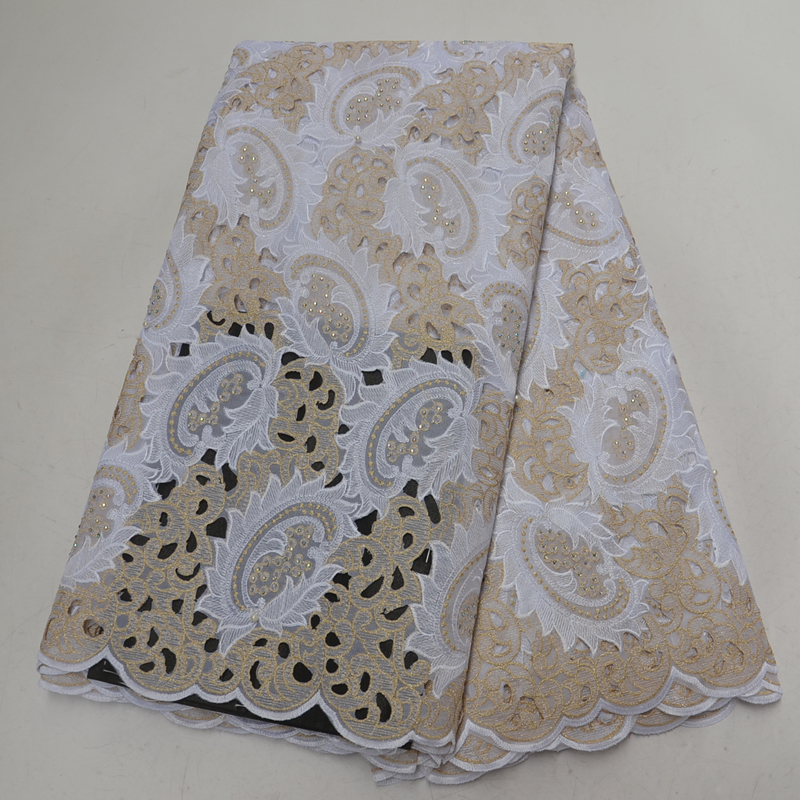 High end Swiss Voile Lace Fabric Hollow Out Design African Lace Swiss Cotton Lace With Compound
