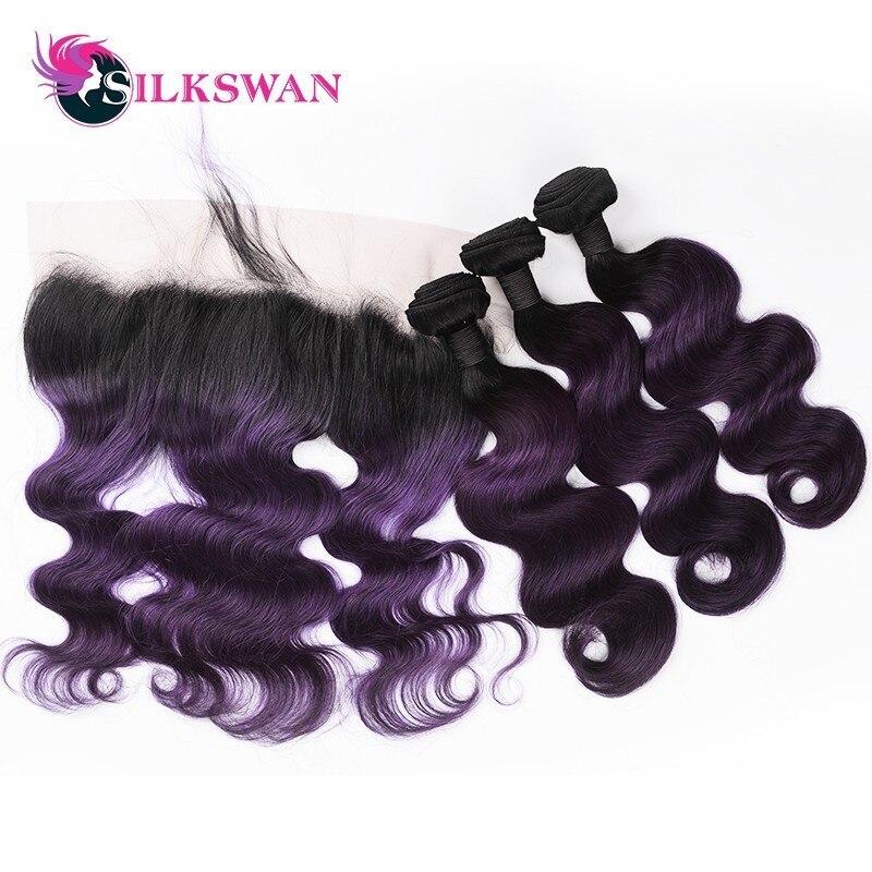 Silkswan Hair 1B Purple Ombre 3Bundles With 13 4Frontal Brazilian Human Hair Weave Body Wave Remy