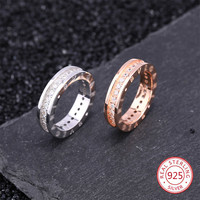 S925 silver female ring fashion popular personality style inlaid meteorite couple style to send gifts for love 2019 new hot sale
