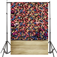 5x7FT Multicolour Flower Brick Photography Backdrops Photo Background Computer Printed For Photo Studio Photobooth Props