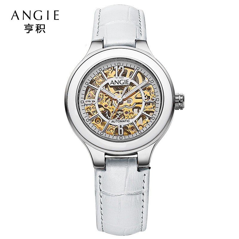 ANGIE Luxury Luminous Mechanical Automatic Watch Women Fashion Ceramic Watch Gold Hollow Skeleton Watches Relogio Feminino A93 angie st7194 fearless series male auto mechanical watch
