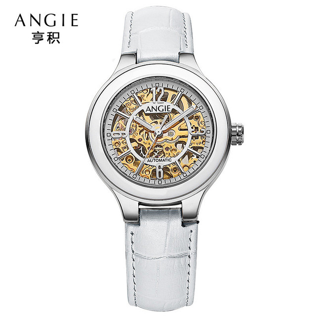 ccbbd6b6343 ANGIE Luxury Luminous Mechanical Automatic Watch Women Fashion Ceramic  Watch Gold Hollow Skeleton Watches Relogio Feminino A93