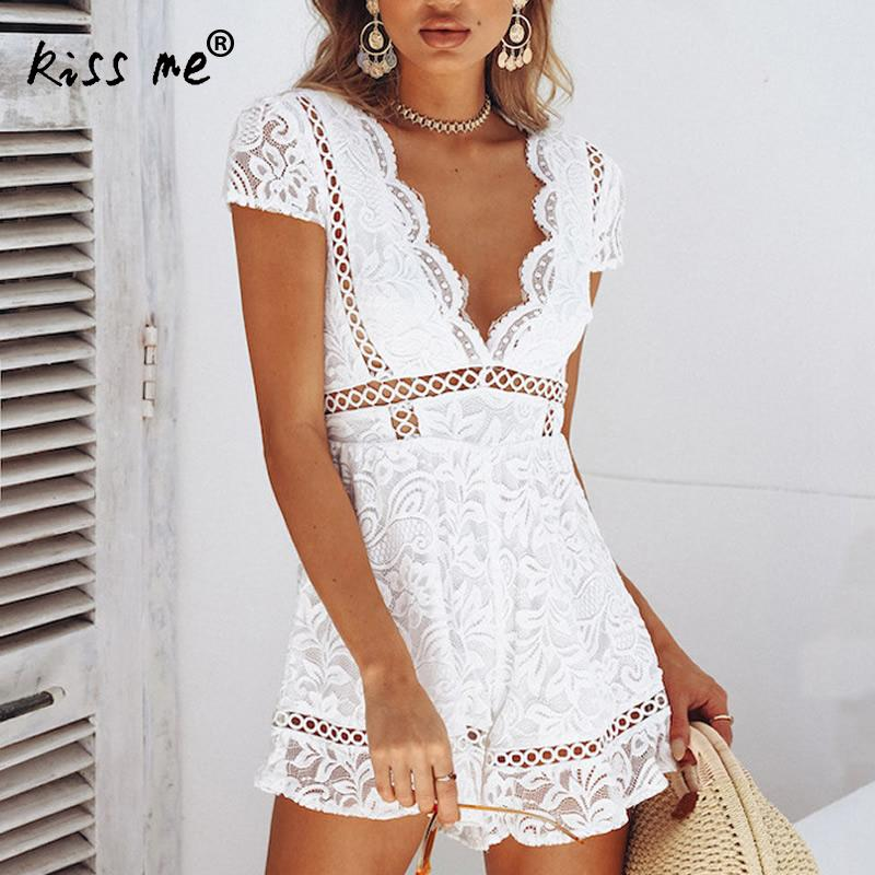 4c9b1cbc9b2 Women Rompers White Lace Jumpsuit Summer 2018 Short Hollow Overalls Female  Sexy Deep V Neck Backless
