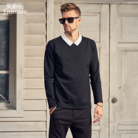 Enjeolon Top Brand Long Sleeve Turn Down Collar Sweatshirt Men Black Cotton Men Clothes Clothing WY521