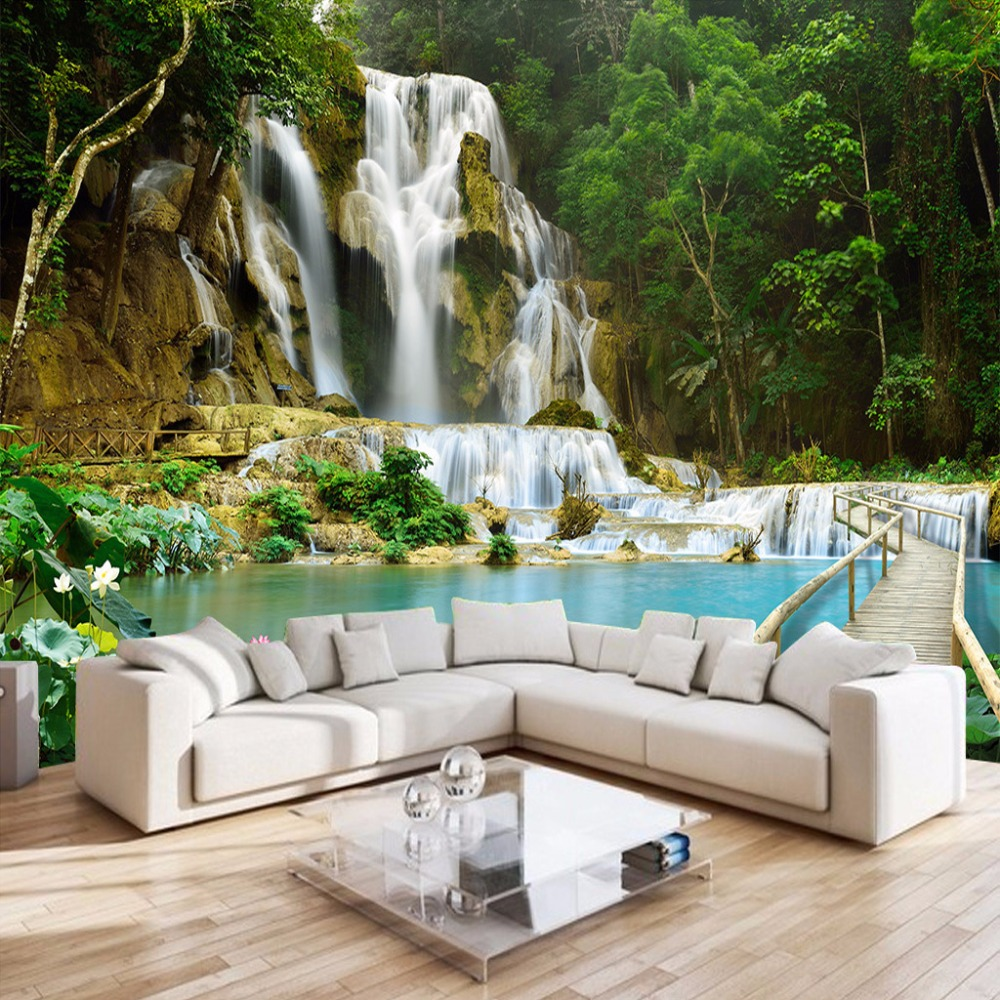 wall waterfall mural nature living 3d landscape forest bedroom backdrop murals background decor sofa woven non tv custom covering walls