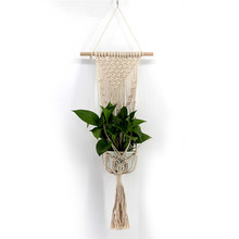 Nordic wind hand-woven tapestry flower pot hanging net bag wall basket solid Bohemian home decor wedding decoration