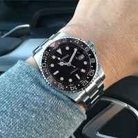 Parnis 40mm 자동식 남성용 시계 블랙 화이트 나일론 밴드 GMT 캘린더 다이버 남성 Reserva 기계식 시계 orologio uomo relogio|기계식 시계|   -