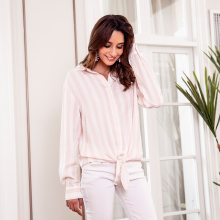 цена на Women autumn striped blouse casual buttons front turn-down collar long sleeve bow knot office blouse ladies blouse vestidos 2019