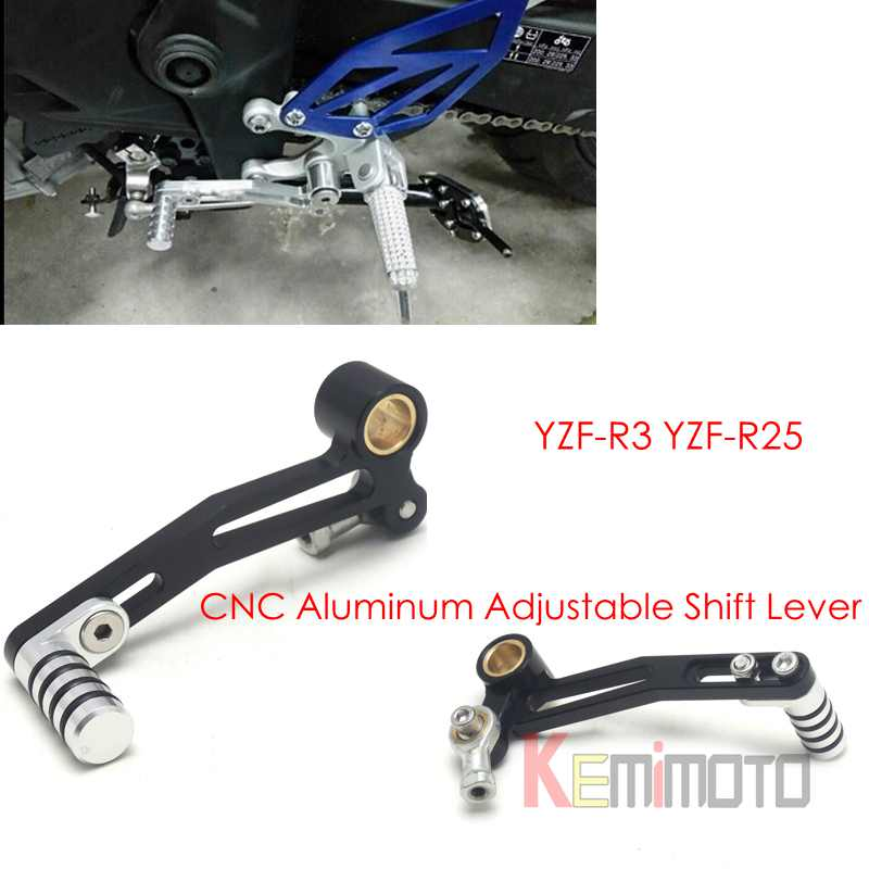 YZF-R3 YZF-R25 CNC Aluminum Adjustable Shift Lever For YAMAHA YZF-R3 2014-2015 & R25 2015  New Motorcycle Parts motorcycle cnc aluminum mudguard rear fender bracket license plate holder light for yamaha yzf r25 r3 yzf r25 yzf r3