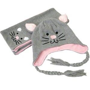 2 шт./компл., шапки для мальчиков и девочек, шарф, набор, От 1 до 5 лет, милый котенок, детские зимние шапки, капот, Enfant, Детские муты, KF087
