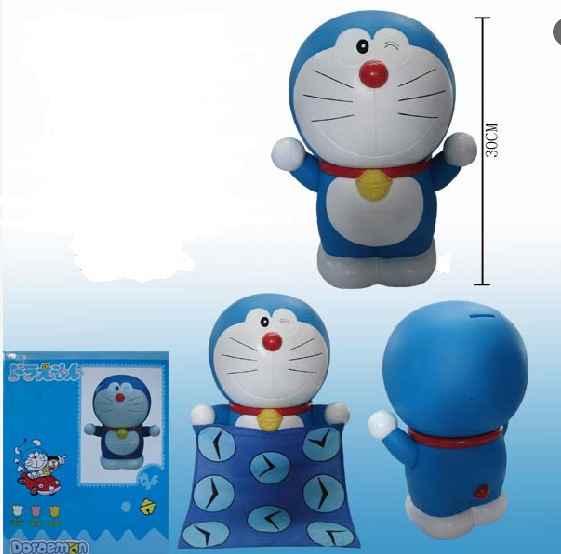 30cm big size Piggy bank Doraemon Anime Action Figure Collection toys for christmas gift Free shipping with retail box