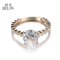 HELON 9x7mm Oval Cut White Topaz Fine Engagement Wedding Natural Diamond Ring 14K Yellow Gold Women