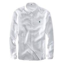 100% Linen long sleeve men shirt brand fashion shirts men casual flax shirt mens 3XL plus size shirts male free shipping chemise