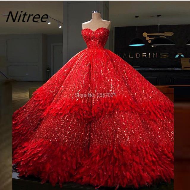 Luxury Ball Gown Red Robe De Soiree Avondjurken Custom Made Arabic Sexy Prom  Dresses Formal Evening Dresses Avondjurken Dubai 6610fece976b