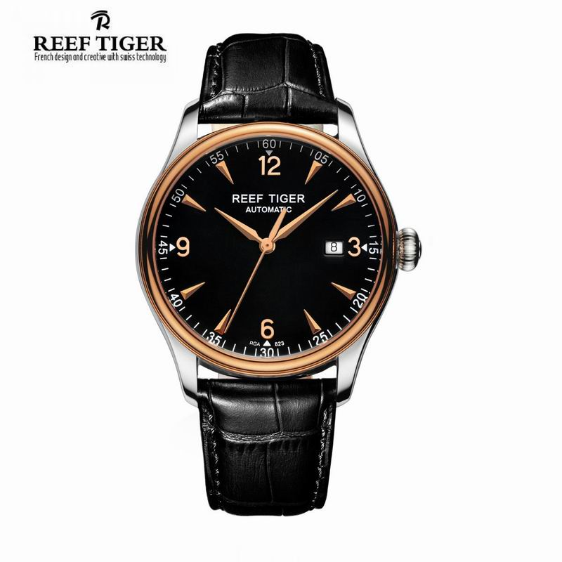 Best Selling Reef Tiger /RT Watches Automatic Men Dress Watch Stainless Steel Rose Gold Watches with Date Free Shipping RGA823 tevise fashion auto date automatic self wind watches stainless steel luxury gold black watch men mechanical t629a with tool