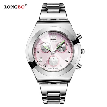 LONGBO 2019 Top Brand Luxury Women Watches Cute Pink Girl Elegant Ladies Clock Waterproof Alloy Quartz Watch Female Watch