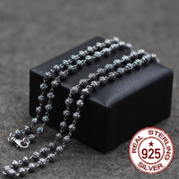 Pure Silver Couple Necklaces Cross Bead Necklace Individual Punk Style Do The Old One Gift To