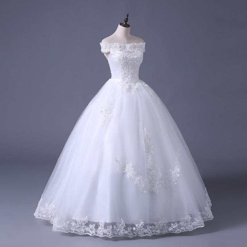 VENSANAC 2017 Free Shipping New A Line Lace Sweetheart Short Sleeve White Satin Bridal Wedding Dress Wedding Gown 30217 3