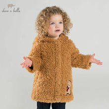 DBJ8942 dave bella autumn winter baby girls fashuon hooded jacket children high quality coat infant toddler outerwear(China)