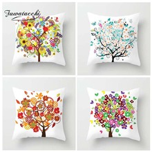 Fuwatacchi multiple Color Style Cushion Cover Tree Flower Butterfly Printed Pillow White Decorative Pillows For Sofa Car