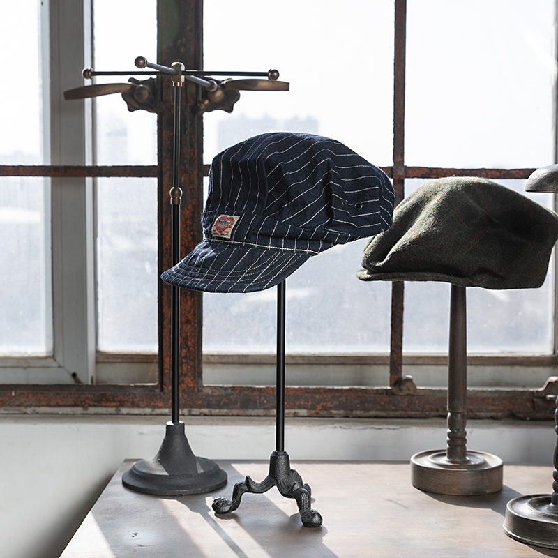 Сделанный вручную из массива дерева Поднос Винтажный старый держатель шляпы промышленный стиль металлическая посадка напольный Регулируе... - 2
