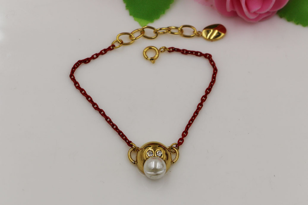 Fashion stainless steel jewelry cute monkey gold color red rope monkey bracelet jewelry