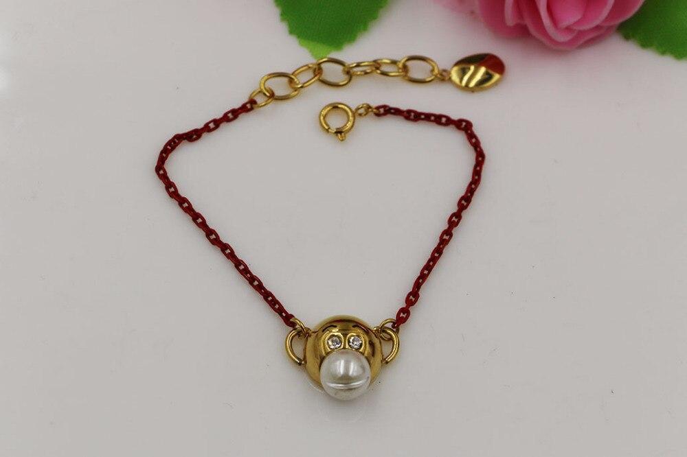 Mode en acier inoxydable bijoux mignon singe or couleur rouge corde singe bracelet bijoux
