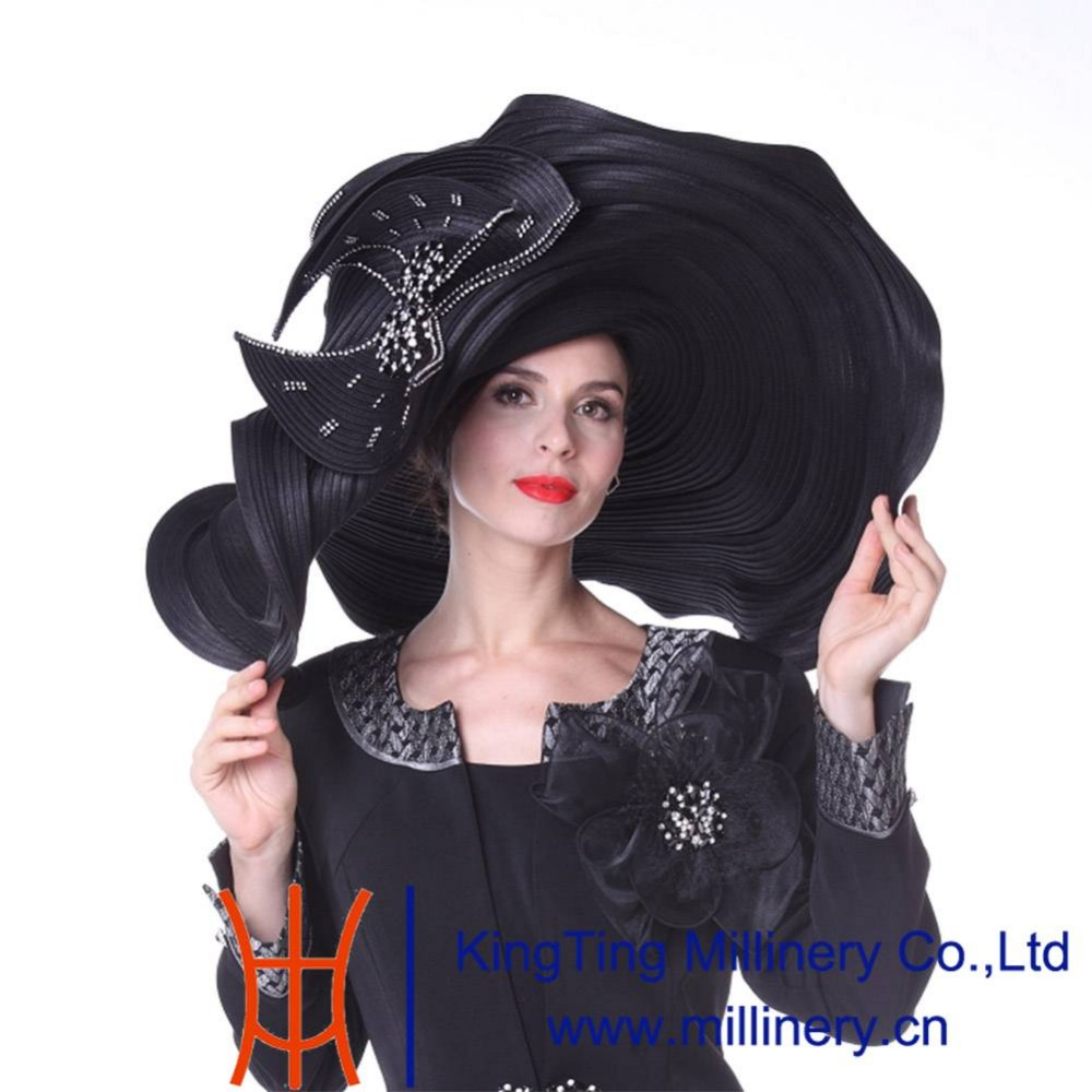1b26f282fe5 Kueeni Women Hats Church Hats Exaggeration Designer Fashion Lady Wide Brim  Hats Elegant Lady Wedding Party Church Fedoras Hats-in Fedoras from Apparel  ...